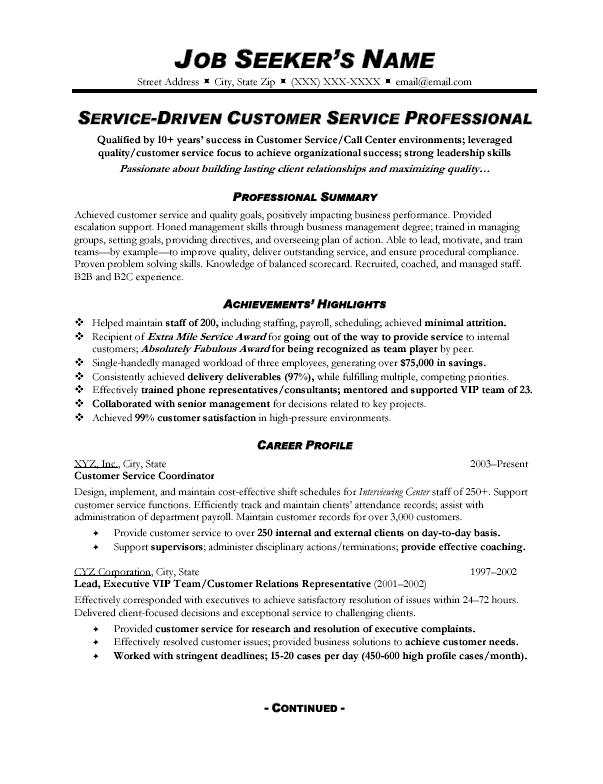 Resume Examples Customer Service
