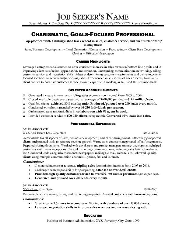 Resume sale person