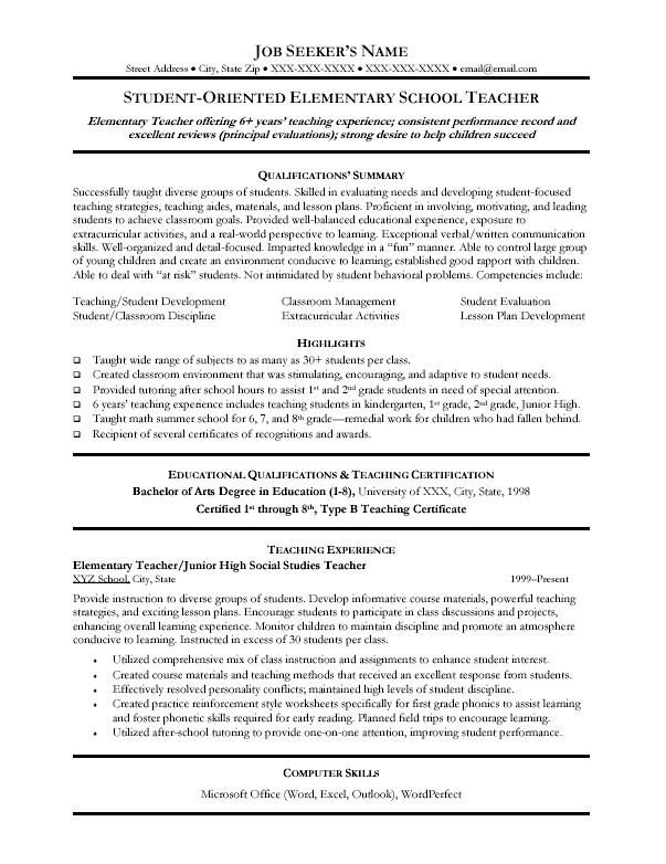 teacher educator resume sample